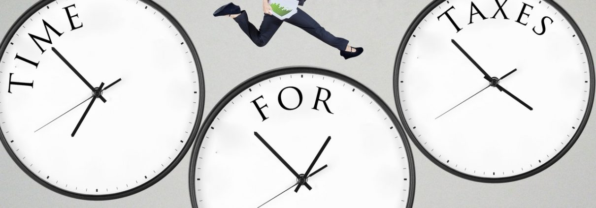 woman jumping between clocks that say time for taxes