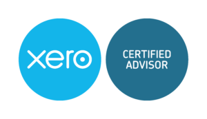 Blue and White Xero Certified Advisor logos on transparent background