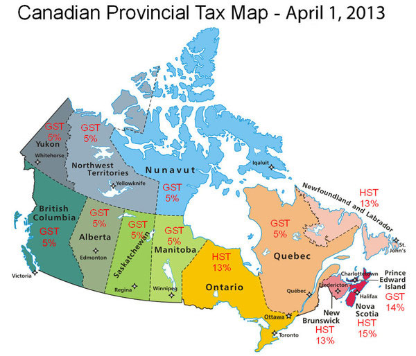 Canadian map to show tax breakdown