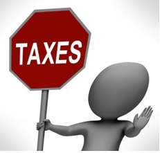 man holding sign that represents Stop Taxes
