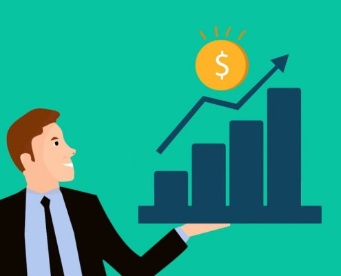 cartoon man holding money chart showing growth