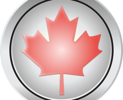 Round silver button with red maple leaf